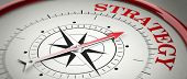 Strategy concept. Compass red arrow pointing at red letters word Strategy. 3d illustration poster