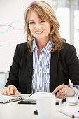 picture of middle-age  - Mid age businesswoman at work - JPG