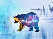 Silhouette Form Of Bear On Technical Financial Graph poster