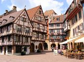 pic of alsatian  - Picturesque square in the Alsatian city of Colmar - JPG