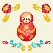 National Folk Ornament. Russian Boretskaya Painting. Decorative Elements Matrioshka, Plants And Flow poster