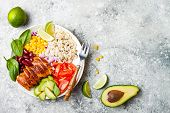 Homemade Mexican Chicken Burrito Bowl With Rice, Beans, Corn, Tomato, Avocado, Spinach. Taco Salad L poster