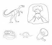 Volcanic Eruption, Gallimimus, Stegosaurus, Dinosaur Skull. Dinosaur And Prehistoric Period Set Coll poster