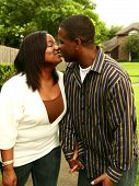 African American Couple Kissing Outdoor poster
