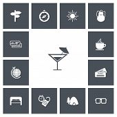 Постер, плакат: Set Of 13 Editable Journey Icons Includes Symbols Such As Tea Cup Ticket Sunshine And More Can B