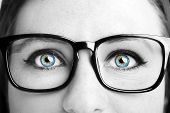 Image Of A Beautiful Young Woman Wearing Glasses. Closeup poster