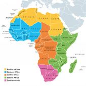 Africa Regions Political Map With Single Countries. United Nations Geoscheme. Northern, Western, Cen poster