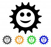 Cog Glad Smiley Icon. Vector Illustration Style Is A Flat Iconic Cog Glad Smiley Black Symbol With G poster