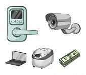 Home Appliances And Equipment Cartoon Icons In Set Collection For Design.modern Household Appliances poster