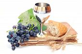 stock photo of communion  - Holy Communion Elements Isolated On White Background - JPG