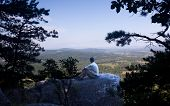 Senior Hiker Overlooks Virginia