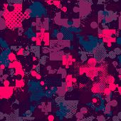 Abstract Seamless Puzzle Pattern For Girls, Boys. Creative Vector Pattern With Puzzle, Square, Splas poster