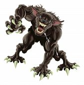 foto of wolfman  - A fearsome werewolf monster attacking the viewer - JPG
