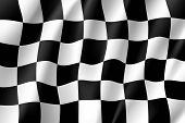 Flag Auto Racing, Waving Realistic Banner. Symbol Of Start And Finish Of Race Cars On Route. Vector  poster