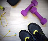 Fitness Accessories. Sports Dumbbells Sneakers Headphones Sports Shoes Watchstrap And Case. Items Fo poster