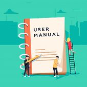 User Manual Flat Style Vector Concept. People, Surrounded With Some Office Stuff, Are Discussing Con poster