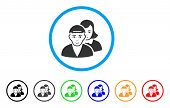 People Pair Rounded Icon. Style Is A Flat People Pair Grey Symbol Inside Light Blue Circle With Blac poster