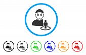 Portal Administrator Rounded Icon. Style Is A Flat Portal Administrator Grey Symbol Inside Light Blu poster