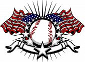 foto of fastpitch  - Stars and Stripes Patriotic baseball image with American Flags - JPG