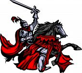 picture of paladin  - Knight with armour riding a horse and raising sword - JPG