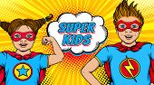 Wow Couple. Surprised Little Girl And Happy Boy Dressed Like Superheroes With Open Mouths Show Power poster