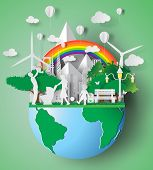 Paper Art Of Eco Friendly Family Concept And Earth With Environment Day.vector Illustration poster