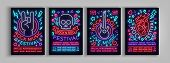 Rock Festival Set Of Posters In Neon Style. Collection Neon Sign, An Invitation To The Concert Broch poster