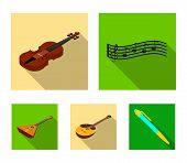 Musical Instrument Flat Icons In Set Collection For Design. String And Wind Instrument Isometric Vec poster