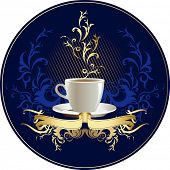 Cup of coffee with abstract design elements and ribbon.