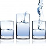 Glass of Water. All elements and textures are individual objects. Vector illustration scale to any s