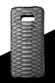 Exclusive Black Snake Python Leather Case For Smartphone.luxury Case. On Black And White Background poster