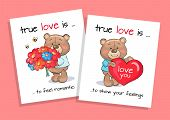 True Love Is To Feel Romantic And Show Feelings Set Of Posters Teddy Boy With Bouquet Of Flowers And poster
