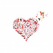 Colorful Heart With Music Notes Isolated. Love Music Concept. Music Elements For Card, Poster, Party poster