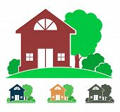 Cottage With Trees And Bushes (logo, Sign, Icon, Emblem), Country House Image In Color And Monochrom poster