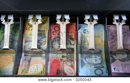 Open Cash Register With Australian Currency: Notes