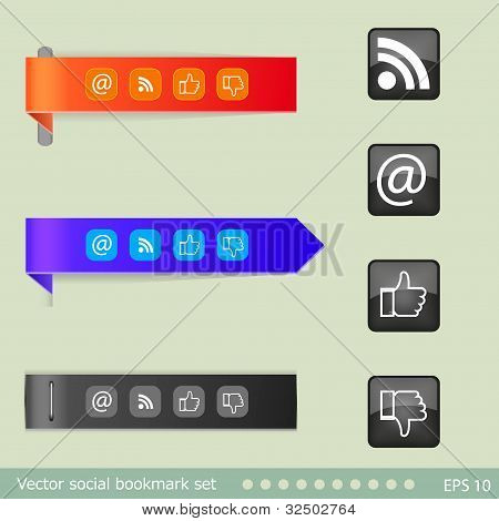 Vector Bookmarks Set With Buttons. Easy To Edit