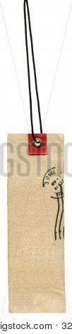 Etiqueta de Prise de la materia textil con sello y encaje aislado en blanco