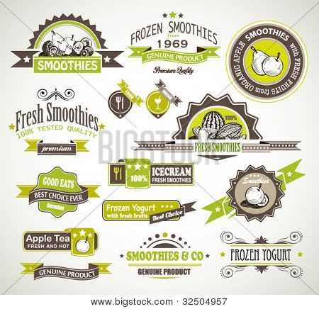 Premium quality collection of Fruits Smoothies, Tea and frozen yogurt labels with different styles and space for text.