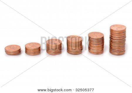 Pennies Arranged as a Bar Graph