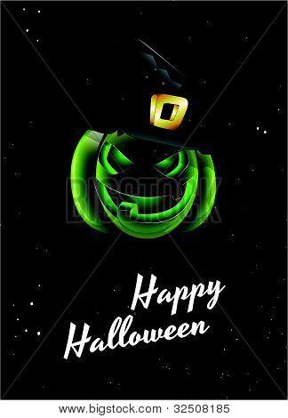 Scary Pumpkin Halloween Card