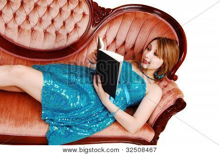 Reading Girl On Couch.