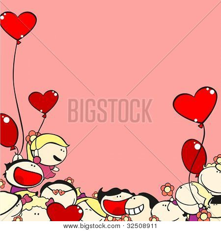 Valentine's Day card with kids and balloons (raster version)