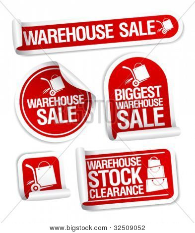 Warehouse sale stickers with hand truck.