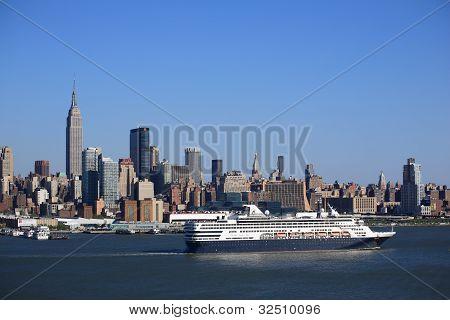 New York City Skyline And Cruise Ship