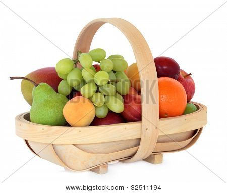 Apricot, mango, plum, nectarine, pear, grape, orange and apple fruit in a rustic wooden basket over white background.