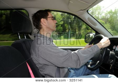 Falling Asleep While Driving Along The Interstate Highway