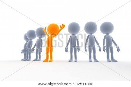The gold winner in a group. 3d little humans, business concept