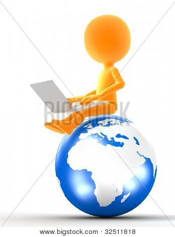 Gold icon man sitting on the globe with laptop. Internet, network, social media