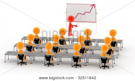 Gold 3d men on a lecture, business meeting, presentation or school classes