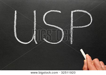 USP, Unique Selling Point business phrase abbreviation.